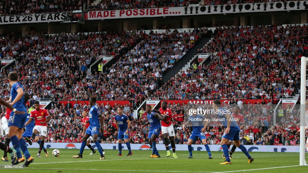 Marcus Rashford of Manchester United scores a goal to make it 2-0 during the Premier League match between Manchester United and Leicester City at Old Trafford on August 26, 2017 in Manchester, England.