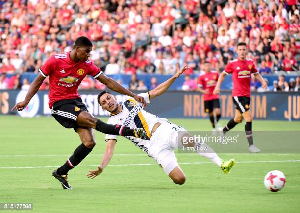 Marcus Rashford of Manchester United scores his second goal of the game past Hugo Arellano of Los Angeles Galaxy to take a 20 lead during the first...