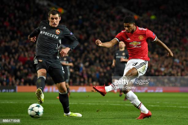 Marcus Rashford of Manchester United scores his sides second goal during the UEFA Champions League group A match between Manchester United and CSKA...