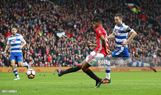 Marcus Rashford of Manchester United scores his sides third goal during the Emirates FA Cup third round match between Manchester United and Reading...