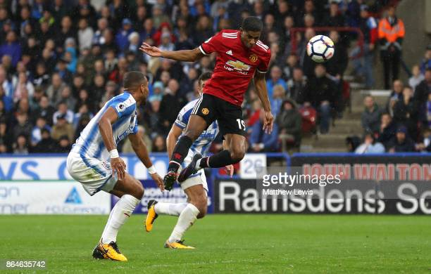Marcus Rashford of Manchester United scores the first Manchester United goal during the Premier League match between Huddersfield Town and Manchester...