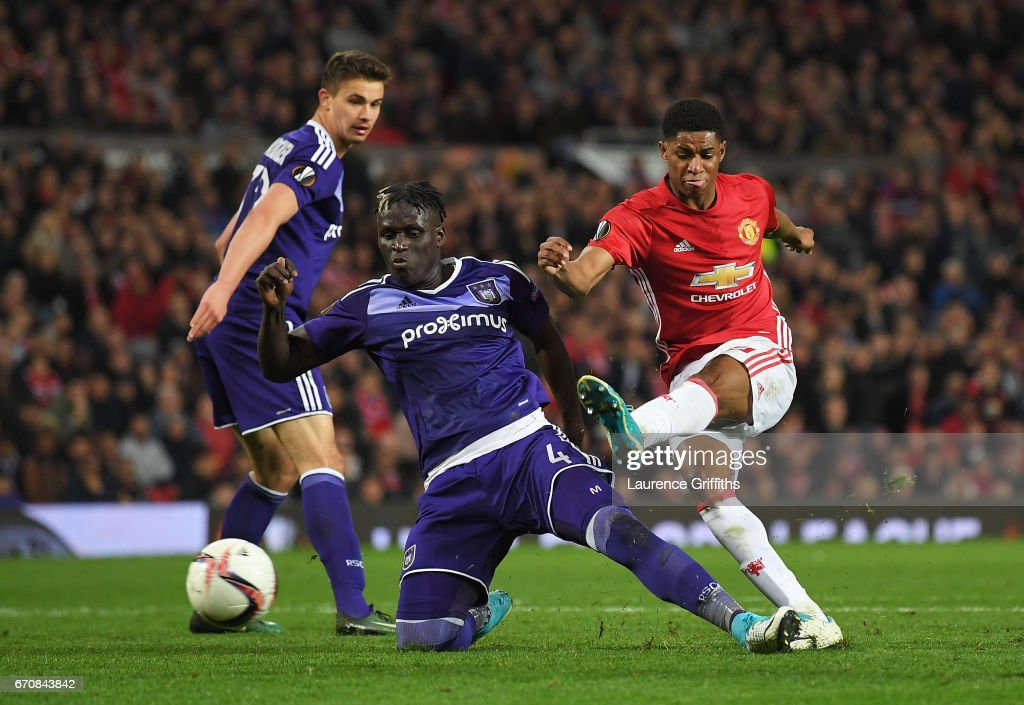 Marcus Rashford of Manchester United scores their second goal during the UEFA Europa League quarter final second leg match between Manchester United and RSC Anderlecht at Old Trafford on April 20, 2017 in Manchester, United Kingdom.