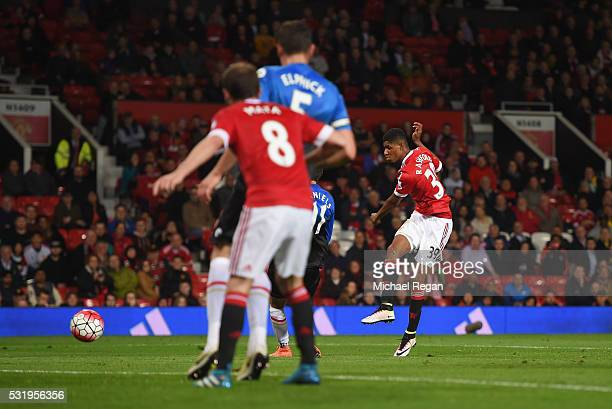 Marcus Rashford of Manchester United scores their tsecond goal during the Barclays Premier League match between Manchester United and AFC Bournemouth...