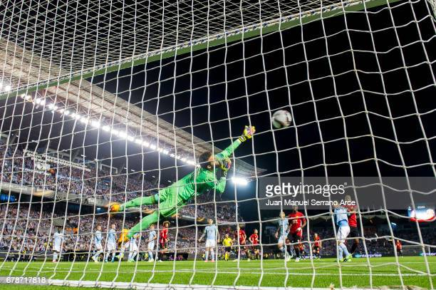 Marcus Rashford of Manchester United scoring goal during the Uefa Europa League semi final first leg match between Real Club Celta De Vigo and...