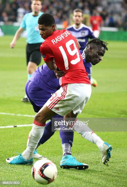 Marcus Rashford of Manchester United Serigne Mbodji aka Kara Mbodj of Anderlecht during the UEFA Europa League quarter final first leg match between...