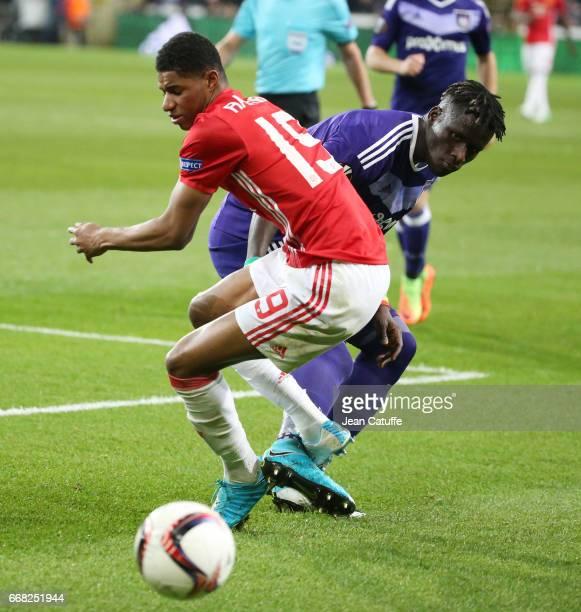Marcus Rashford of Manchester United Serigne Mbodji aka Kara Mbodj of Anderlecht during the UEFA Europa League quarter final first leg match between...