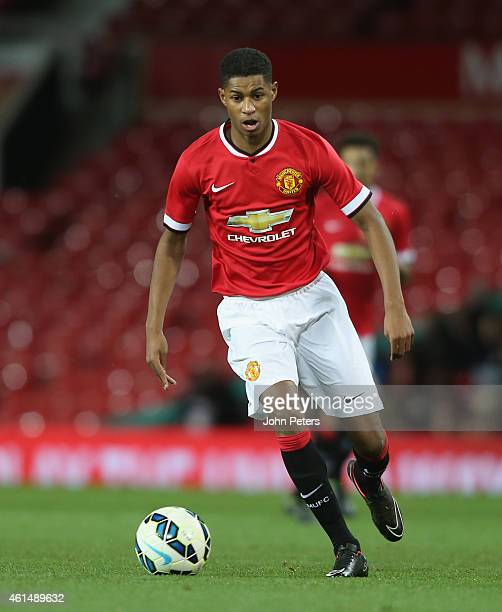 Marcus Rashford of Manchester United U18s in action during the FA Youth Cup Fourth Round match between Manchester United U18s and Hull City U18s at...