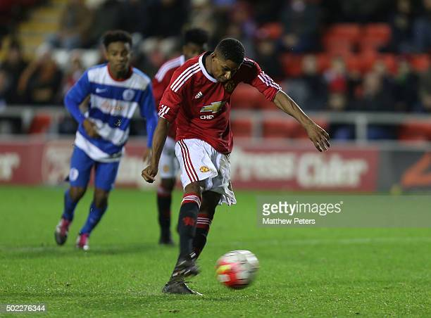 Marcus Rashford of Manchester United U18s scores their second goal during the FA Youth Cup third round match between Manchester United U18s and...