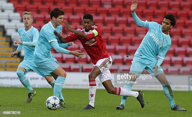 Marcus Rashford of Manchester United U19s in action during the UEFA Youth League match between Manchester United U19s and PSV Eindhoven U19s at Leigh...