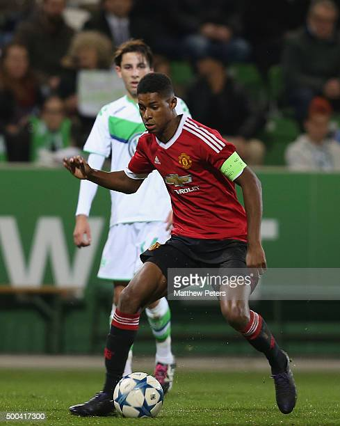Marcus Rashford of Manchester United U19s in action during the UEFA Youth League match between VfL Wolfsburg U19s and Manchester United U19s at AOK...