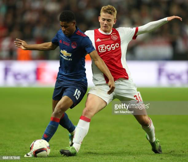 Marcus Rashford of Manchester United vies with Matthijs de Ligt of Ajax during the UEFA Europa League Final match between Ajax and Manchester United...