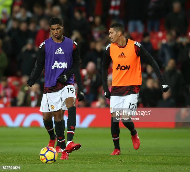 Marcus Rashford of Manchester United warms up ahead of the Premier League match between Manchester United and Newcastle United at Old Trafford on...