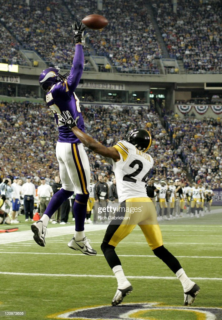 <a gi-track='captionPersonalityLinkClicked' href=/galleries/search?phrase=Marcus+Robinson&family=editorial&specificpeople=215475 ng-click='$event.stopPropagation()'>Marcus Robinson</a> goes up for the ball in the end zone. After a coach's challenge and subsequent review, the play was ruled incomplete. The Pittsburgh Steelers defeated the Minnesota Vikings by a score of 18 to 3 at the H.H.H. Metrodome in Minneapolis, Minnesota December 18, 2005.