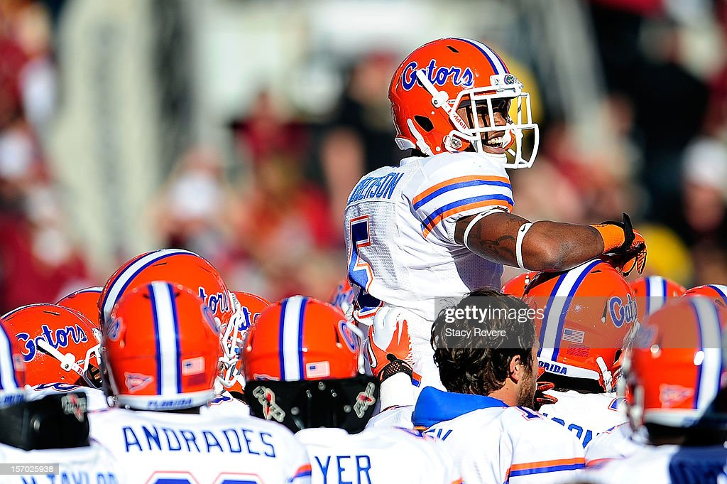 <a gi-track='captionPersonalityLinkClicked' href=/galleries/search?phrase=Marcus+Robinson&family=editorial&specificpeople=215475 ng-click='$event.stopPropagation()'>Marcus Robinson</a> #5 of the Florida Gators during pre-game activities prior to a game against the Florida State Seminoles at Doak Campbell Stadium on November 24, 2012 in Tallahassee, Florida. Florida would win the game 37-26.
