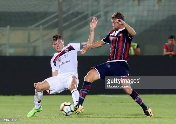 Marcus Rohden of Crotone competes for the ball with Nicolò Barella of Cagliari during the PreSeason Friendly match between FC Crotone and Cagliari...
