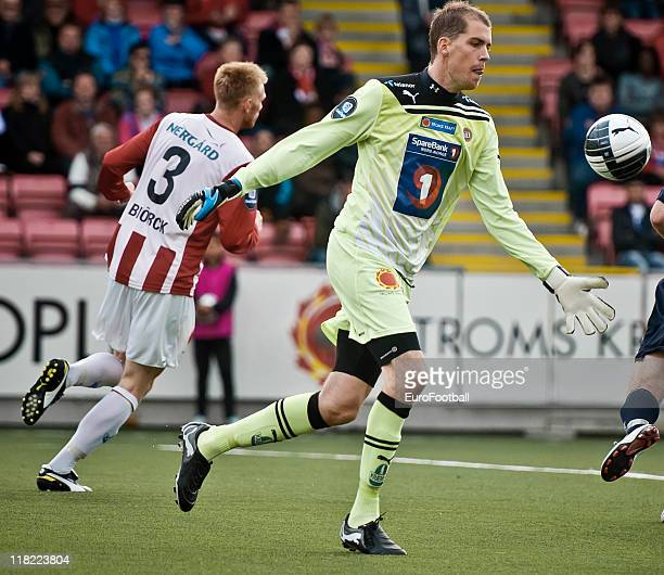 Marcus Sahlman of Tromso IL in action during the Norwegian Tippeligaen match between Tromso IL and Stabaek Fotball held on June 26 2011 at the...