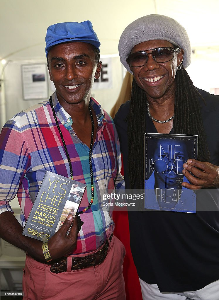 Marcus Samuelsson and Nile Rodgers attend the East Hampton Library's Authors Night 2013 at Gardiner's Farm on August 10, 2013 in East Hampton, New York.
