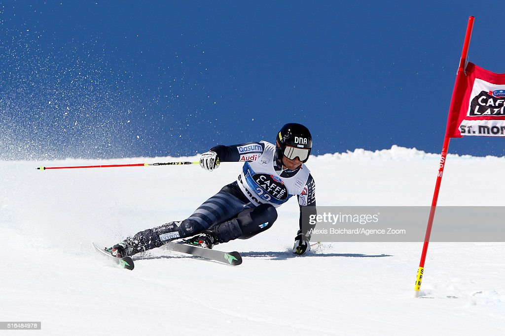 <a gi-track='captionPersonalityLinkClicked' href=/galleries/search?phrase=Marcus+Sandell&family=editorial&specificpeople=4153799 ng-click='$event.stopPropagation()'>Marcus Sandell</a> of Finland in action during the Audi FIS Alpine Ski World Cup Finals Men's Giant Slalom and Women's Slalom on March 19, 2016 in St. Moritz, Switzerland.