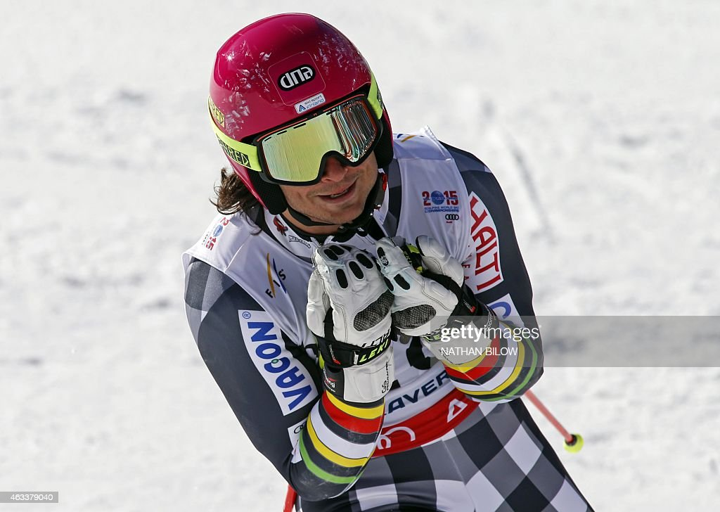 <a gi-track='captionPersonalityLinkClicked' href=/galleries/search?phrase=Marcus+Sandell&family=editorial&specificpeople=4153799 ng-click='$event.stopPropagation()'>Marcus Sandell</a> of Finland reacts after his second run during the 2015 World Alpine Ski Championships men's giant slalom February 13, 2015 in Beaver Creek, Colorado.