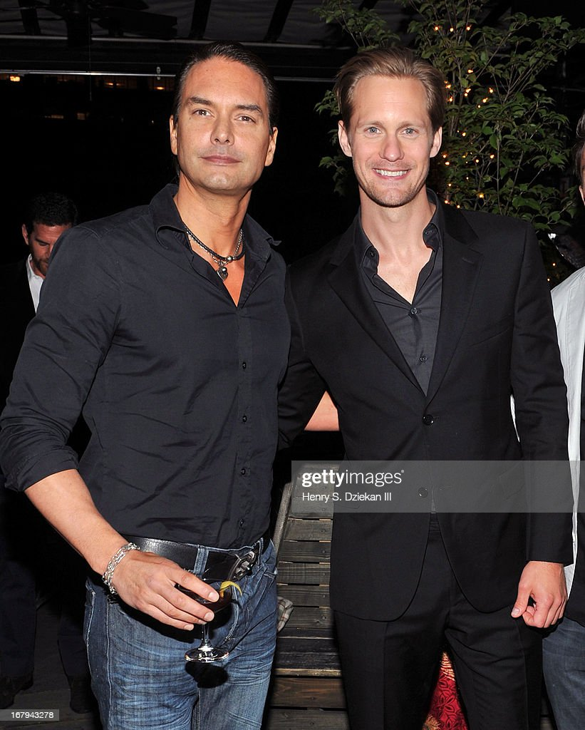 <a gi-track='captionPersonalityLinkClicked' href=/galleries/search?phrase=Marcus+Schenkenberg&family=editorial&specificpeople=243079 ng-click='$event.stopPropagation()'>Marcus Schenkenberg</a> and Alexander Skarsgard attend The Cinema Society With Tod's & GQ screening of Millennium Entertainment's 'What Maisie Knew' after party at Gallow Green at the McKittrick Hotel on May 2, 2013 in New York City.