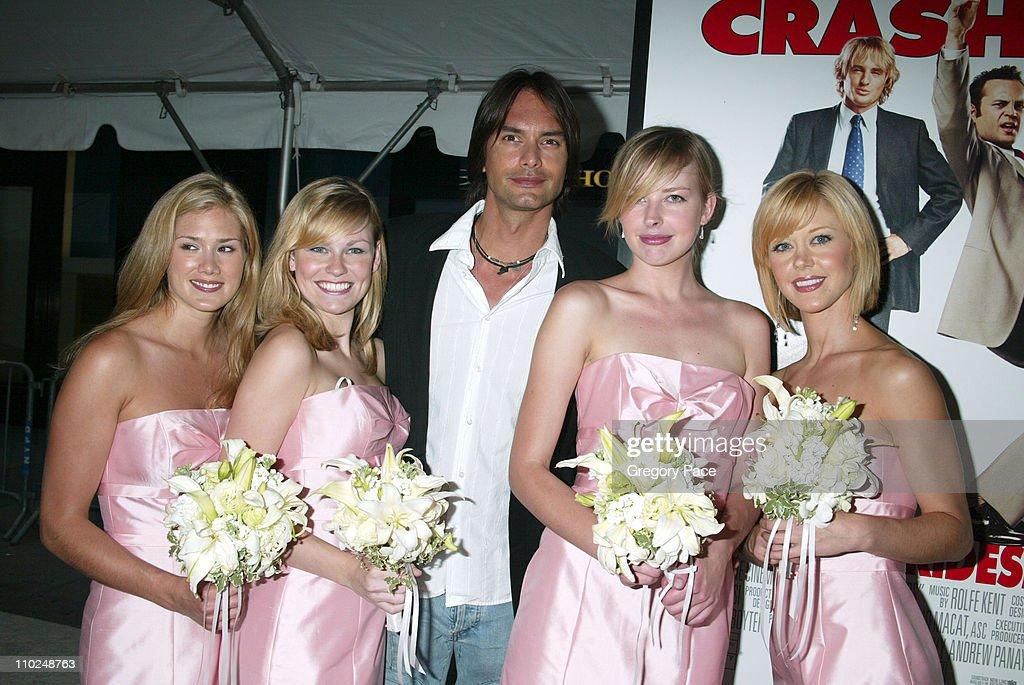 Marcus Schenkenberg and Brides Maids during 'Wedding Crashers' New York City Premiere Arrivals at Ziegfeld Theater in New York City New York United...
