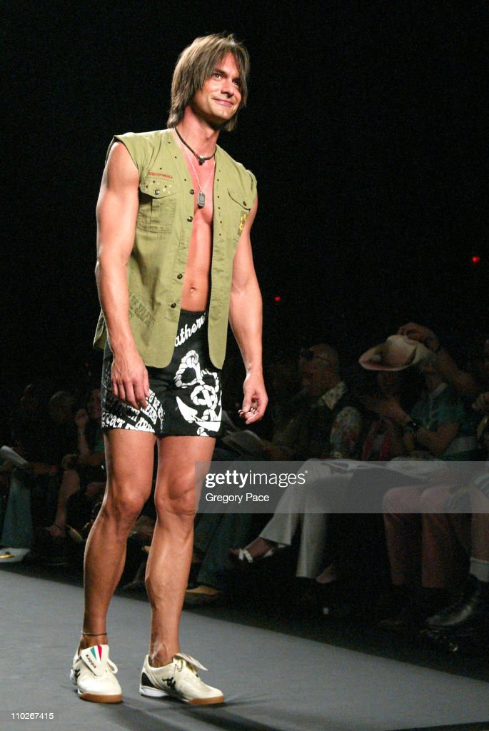 Marcus Schenkenberg during Olympus Fashion Week Spring 2006 Fashion For Relief On the Runway at Bryant Park in New York City New York United States
