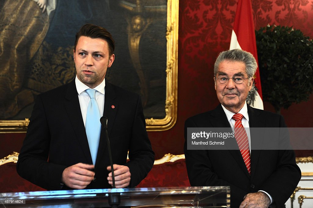 Marcus Schober (L) and <a gi-track='captionPersonalityLinkClicked' href=/galleries/search?phrase=Heinz+Fischer&family=editorial&specificpeople=537198 ng-click='$event.stopPropagation()'>Heinz Fischer</a> speak to the audience during a press preview - 'Hofburg: - Ein Stueck (Kunst-) Geschichte' at Hofburg Vienna on October 24, 2014 in Vienna, Austria.
