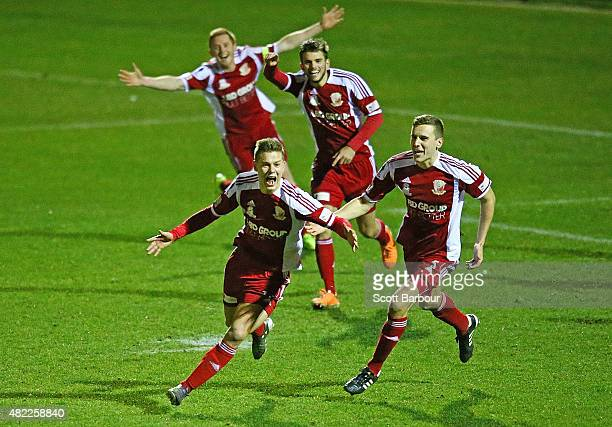 Marcus Schroen of Hume City FC celebrates after scoring a goal during the FFA Cup match between Hume City FC and Brisbane Strikers FC at ABD Stadium...