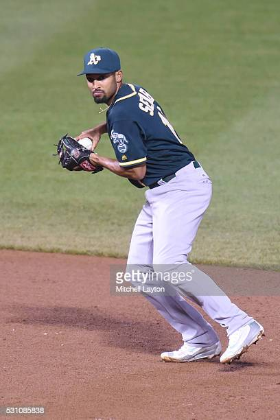 Marcus Semien of the Oakland Athletics fields a ground ball during game two of a double header baseball game against the Baltimore Orioles at Oriole...