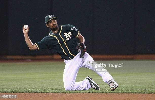 Marcus Semien of the Oakland Athletics in action against the Los Angeles Dodgers at Oco Coliseum on August 18 2015 in Oakland California