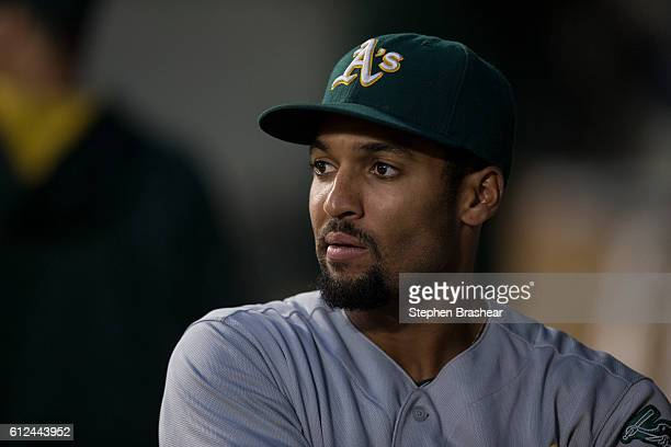 Marcus Semien of the Oakland Athletics is walks through the dugout before a game against the Seattle Mariners at Safeco Field on September 30 2016 in...
