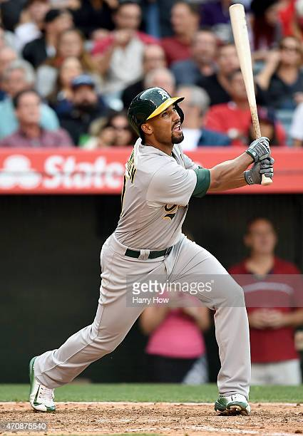 Marcus Semien of the Oakland Athletics pops out during the sixth inning against the Los Angeles Angels at Angel Stadium of Anaheim on April 23 2015...