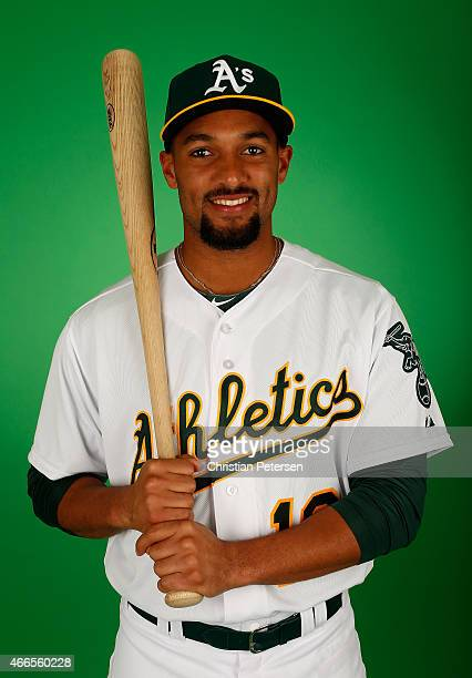 Marcus Semien of the Oakland Athletics poses for a portrait during the spring training photo day at HoHoKam Stadium on February 28 2015 in Mesa...