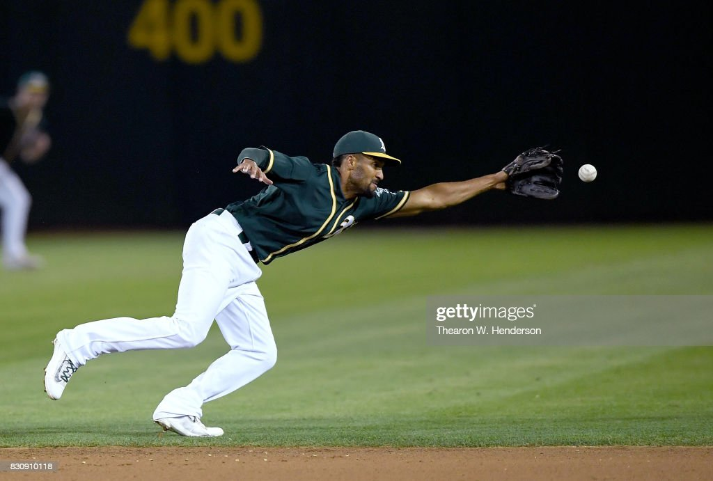 Marcus Semien #10 of the Oakland Athletics watches as the ball gets past him for an rbi single off the bat of Chris Davis #19 of the Baltimore Orioles in the top of the ninth inning at Oakland Alameda Coliseum on August 12, 2017 in Oakland, California. The Orioles won the game 12-5.