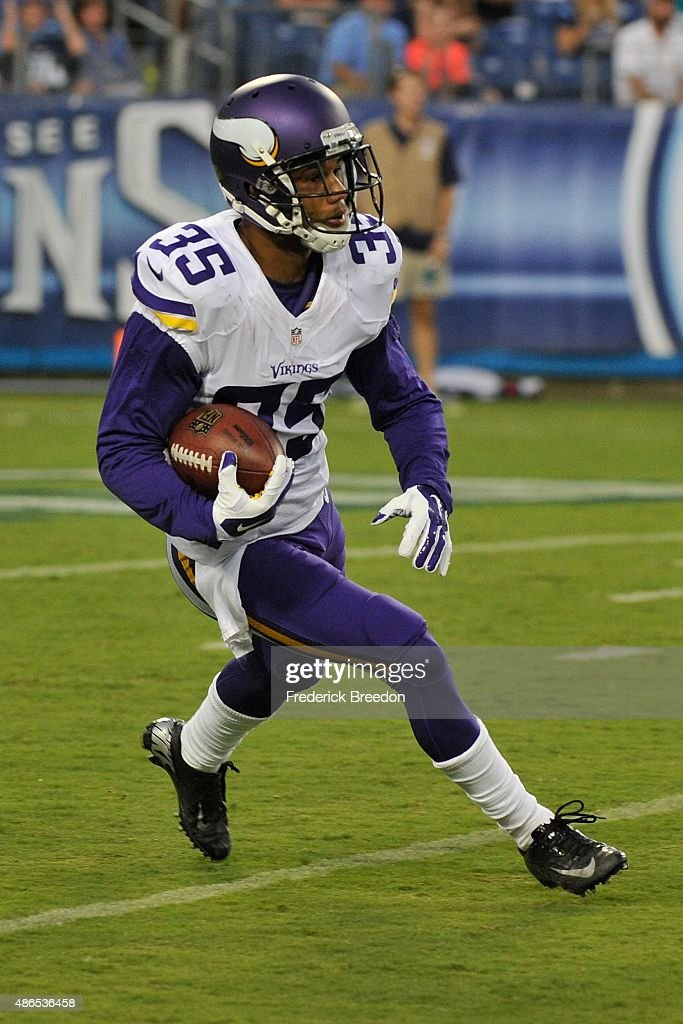 Marcus Sherels of the Minnesota Vikings plays against the Tennessee Titans during a preseason game at Nissan Stadium on September 3 2015 in Nashville...