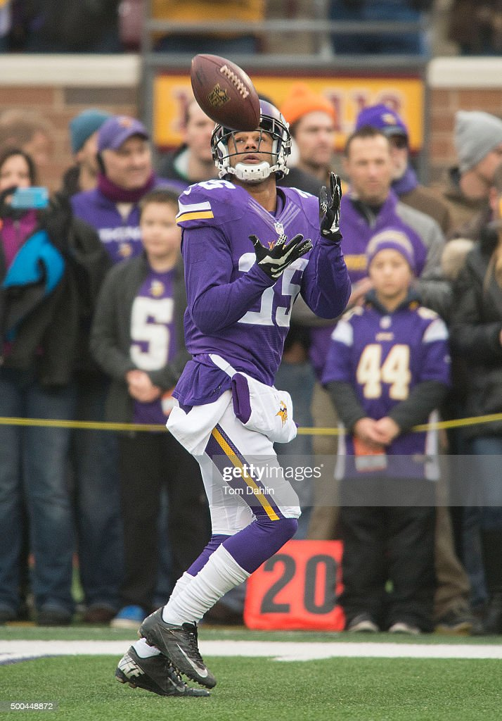 Marcus Sherels of the Minnesota Vikings warms up prior to an NFL game against the Seattle Seahawks at TCF Bank Stadium December 6 2015 in Minneapolis...