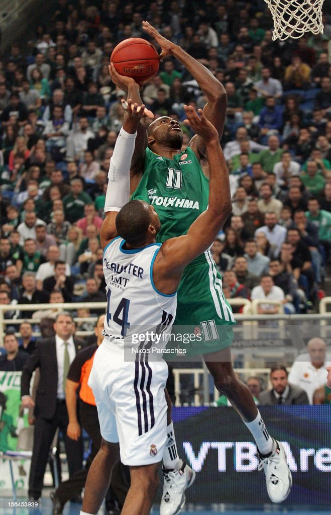 Marcus Slaughter, #44 of Real Madrid competes with <a gi-track='captionPersonalityLinkClicked' href=/galleries/search?phrase=Stephane+Lasme&family=editorial&specificpeople=814288 ng-click='$event.stopPropagation()'>Stephane Lasme</a>, #11 of Panathinaikos Athens during the 2012-2013 Turkish Airlines Euroleague Regular Season Game Day 6 between Panathinaikos Athens v Real Madrid at OAKA on November 15, 2012 in Athens, Greece.
