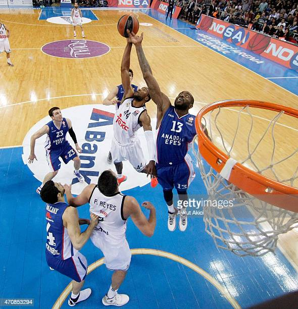 Marcus Slaughter #44 of Real Madrid competes with Stephane Lasme #13 of Anadolu Efes Istanbul during the 20142015 Turkish Airlines Euroleague...