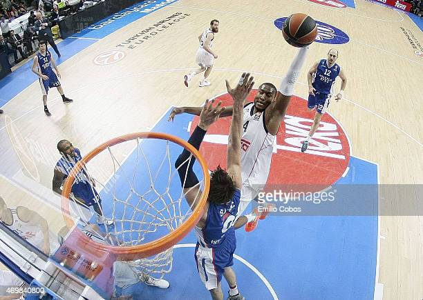 Marcus Slaughter #44 of Real Madrid in action during the 20142015 Turkish Airlines Euroleague Basketball Play Off Game 1 between Real Madrid v...