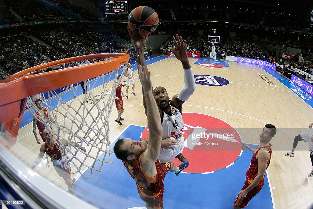 Marcus Slaughter #44 of Real Madrid in action during the Euroleague Basketball Top 16 Date 2 game between Real Madrid v Galatasaray Liv Hospital...