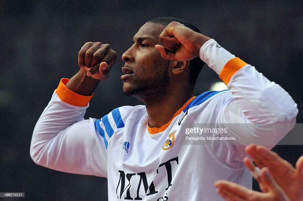 Marcus Slaughter, #44 of Real Madrid reacts during the Turkish Airlines Euroleague Basketball Play Off Game 4 between Olympiacos Piraeus v Real Madrid at Peace and Friendship Stadium on April 23, 2014 in Athens, Greece.