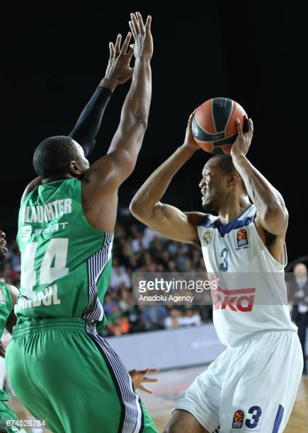 Marcus Slaughter of Darussafaka Dogus in action against Anthony Randolph of Real Madrid during the Turkish Airlines EuroLeague Playoffs Game 4...