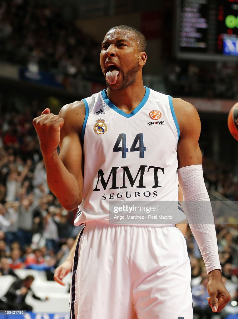 Marcus Slaughter of Real Madrid celebrates during the Turkish Airlines Euroleague Play Off game 2 against Maccabi Electra Tel Aviv at Palacio de los...