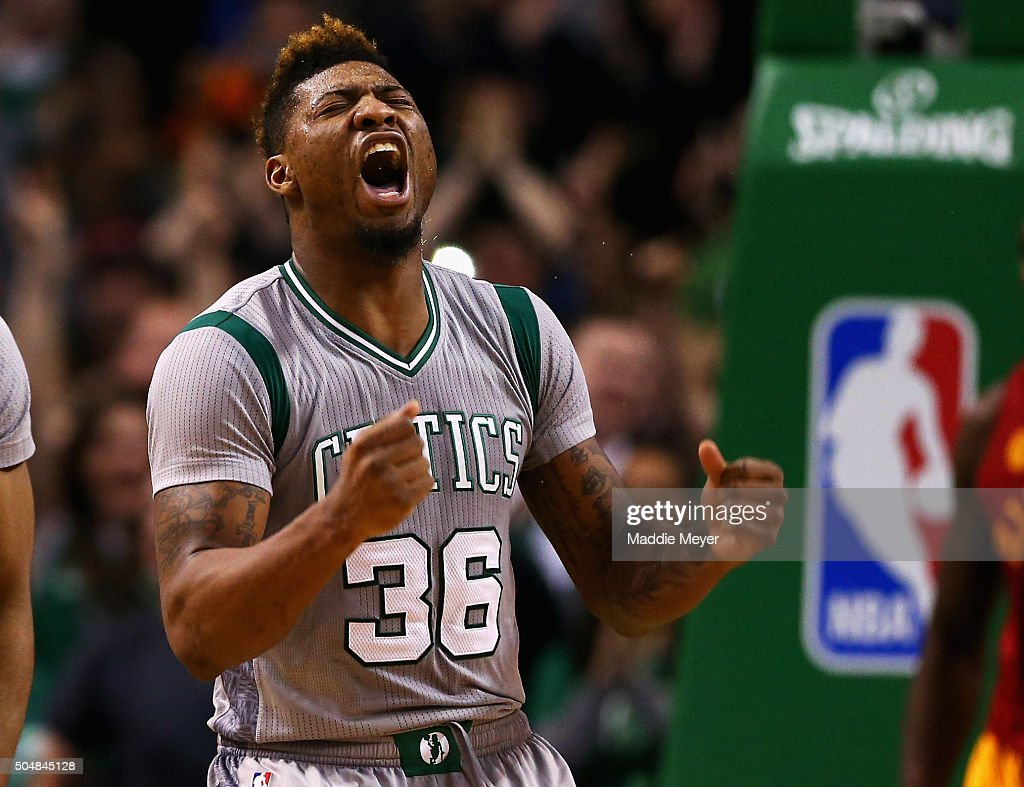 <a gi-track='captionPersonalityLinkClicked' href=/galleries/search?phrase=Marcus+Smart&family=editorial&specificpeople=7887125 ng-click='$event.stopPropagation()'>Marcus Smart</a> #36 of the Boston Celtics celebrates after scoring against the Indiana Pacers during the fourth quarter at TD Garden on January 13, 2016 in Boston, Massachusetts. The Celtics defeat the Pacers 103-94.