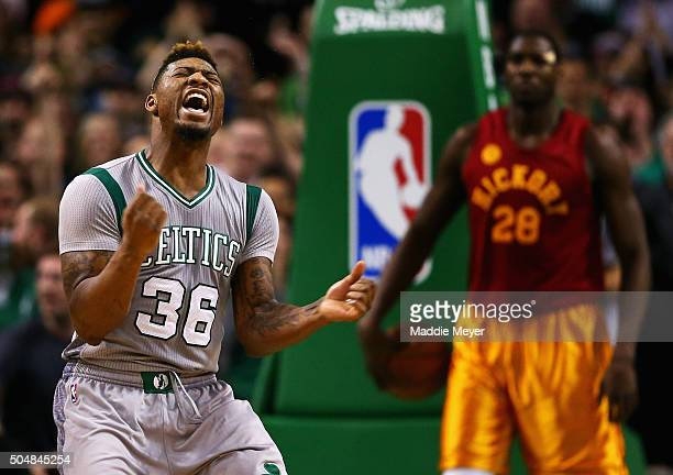 Marcus Smart of the Boston Celtics celebrates after scoring against the Indiana Pacers during the fourth quarter at TD Garden on January 13 2016 in...