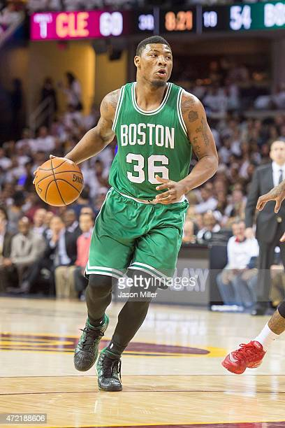 Marcus Smart of the Boston Celtics drives in the second half against the Cleveland Cavaliers during Game Two in the Eastern Conference Quarterfinals...