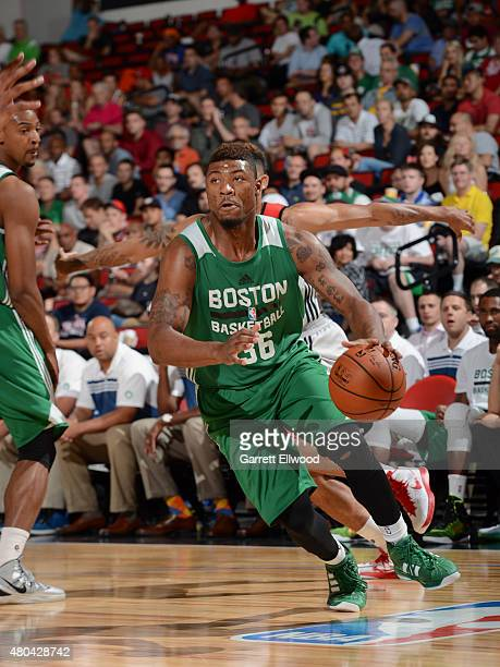 Marcus Smart of the Boston Celtics drives to the basket against the Portland Trail Blazers on July 11 2015 at the Cox Pavilion in Las Vegas Nevada...