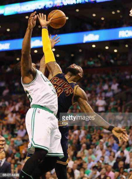 Marcus Smart of the Boston Celtics fouls LeBron James of the Cleveland Cavaliers in the second half during Game One of the 2017 NBA Eastern...