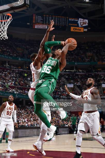 Marcus Smart of the Boston Celtics goes to the basket against the Cleveland Cavaliers on October 17 2017 at Quicken Loans Arena in Cleveland Ohio...