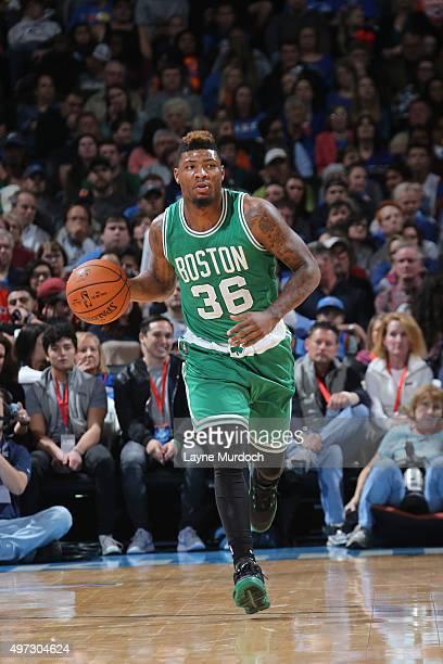 Marcus Smart of the Boston Celtics handles the ball against the Oklahoma City Thunder on November 15 2015 at Chesapeake Energy Arena in Oklahoma City...
